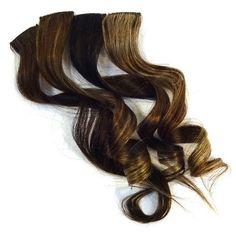 """18"""""""" Clip-In Human Hair Streaks, Walnut"""