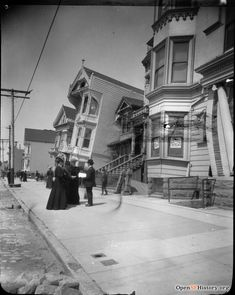 Collapsed houses, Howard Street San Francisco Sites, San Francisco Earthquake, History Images, San Francisco California, Historical Photos, Old Town, Old Photos, American History, Earthquake Damage