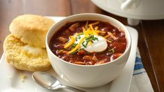 This slow cooker chili goes great with Pillsbury® Grands!® refrigerated golden corn biscuits.