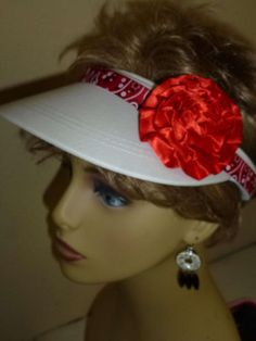 Ladies White Hand Decorated Sun Visor with Red by ArtsyTreats
