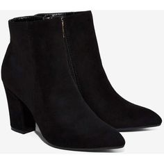 Billini Shea Vegan Suede Bootie ($98) ❤ liked on Polyvore featuring shoes, boots, ankle booties, black high heel booties, black suede bootie, black suede booties, suede ankle boots and black pointed toe booties