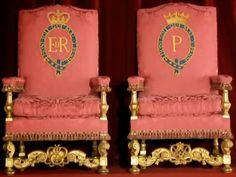 Thrones of Queen Elizabeth II and the Duke of Edinburgh, Buckingham Palace, United Kingdom (1952).