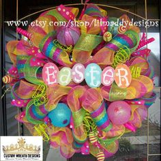 Bright Whimsical Easter Mesh Wreath by lilmaddydesigns on Etsy, $115.00