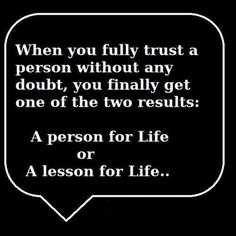 A lesson for life..