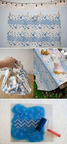 DIY tutorial - Hand printed textile design by Karen Barbé -