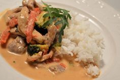 Thai Red Curry, Risotto, Snacks, Meat, Chicken, Ethnic Recipes, Tips, Pink, Apples