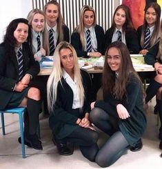 Girls Dressed In Formal School Uniform School Uniform Outfits, Cute School Uniforms, Girls Uniforms, School Girl Dress, School Wear, School Ties, British School Uniform, Private School Uniforms, Pantyhosed Legs