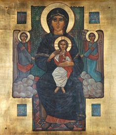 Early icon of the Virgin by Isaac Fanous, circa St George Coptic church, Sporting, Alexandria Religious Icons, Religious Art, St Charbel, Romanesque Art, Christ Is Risen, Bride Of Christ, Byzantine Icons, Orthodox Icons, Celtic Designs