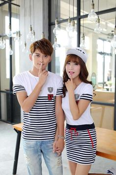 Korean Summer Style Embroidery Casual Short Sleeve Striped Sheath Couple Clothing