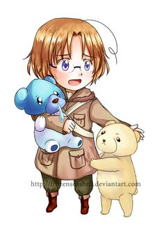 """HetaPoke- Canada+Cubchoo by FrozenSeashell.deviantart.com on @deviantART - Eighteenth in a series pairing Hetalia characters with Pokémon. From the artist's comments: """"So, out of the two little bear Pokemons I chose Cubchoo because it's a polar bear too, making it rival Kumajirou. Although Kumajirou pretends to ignore Canada most of the time, I wonder how he's going to react if Canada has another pet...?"""""""