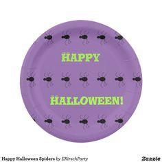 Happy Halloween Spiders Paper Plate