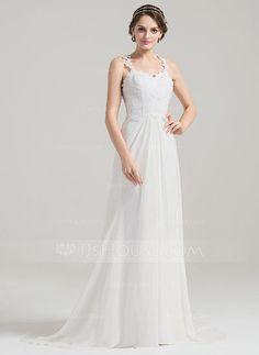 [US$ 179.99] A-Line/Princess Sweetheart Sweep Train Chiffon Wedding Dress With Ruffle Appliques Lace