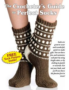 Free download includes crochet hints and tips for socks as well as polka dot sock pattern