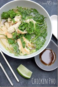 Chicken Pho - This yummy dish with broth, rice noodles, herbs, and meat is sure to fill your belly & be an instant hit to even the pickiest of eaters. @mamamissblog