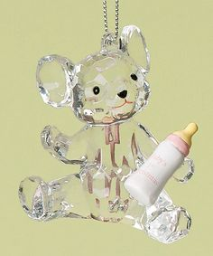 Take a look at this Pink Baby Bottle Bear 'First Christmas' Ornament on zulily today!