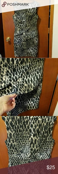 Animal print dress Animal print dress. Size 6. Worn once. Layered skirt in front. Zipper back. Black print with a tan/golden back ground. Silk like material. Great for work or an evening out. Dresses Mini