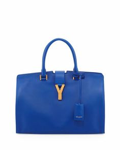 Y-Ligne Classic Cabas Carryall Bag, Blue #SaintLaurent #handag
