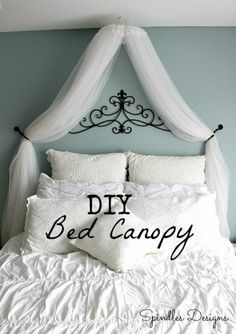 DIY Renters Decor Ideas - DIY Bedroom Canopy - Cool DIY Projects for Those Renting Aparments, Condos or Dorm Rooms - Easy Temporary Wall Art, Contact Paper, Washi Tape and Shelves to Make at Home http://diyjoy.com/diy-decor-ideas-for-renters