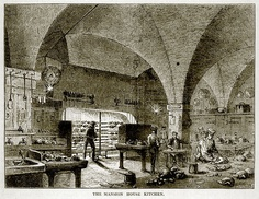 The kitchen of a large mansion house was an extensive operation. Truly roasted meat, turned on spits in front of an open fire, was often the central part of a meal. Spit roasted meat could be cooked in sufficient quantities to feed both a wealthy family and their many guests.