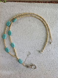 Beautiful Gold and Turquoise Beaded Lanyard  by BeverlyJaneDesigns, $17.00