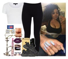 """""""Blahhh."""" by saucinonyou999 ❤ liked on Polyvore featuring Topshop, Helmut Lang, Goldgenie, NIKE and Lime Crime"""