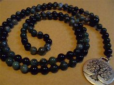 6mm Moss Agate and Onyx with a Tree of Life Charm, Hand Knotted on Black Silk by Mother Earth Malas - Malas on Silk