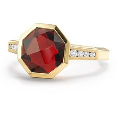 David Yurman Women's Guilin Octagon Ring with Garnet and Diamonds in... (94.245 RUB) ❤ liked on Polyvore featuring jewelry, rings, apparel & accessories, ruby, 18 karat gold ring, diamond rings, diamond band ring, wide-band diamond rings and gold ruby ring