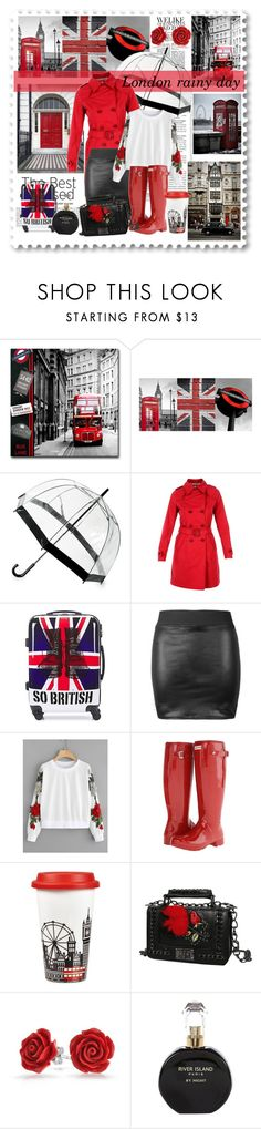 """London rainy day"" by jaystilo ❤ liked on Polyvore featuring Brewster Home Fashions, Saks Fifth Avenue, Herno, David Jones, Hunter, Portmeirion, Bling Jewelry and River Island"