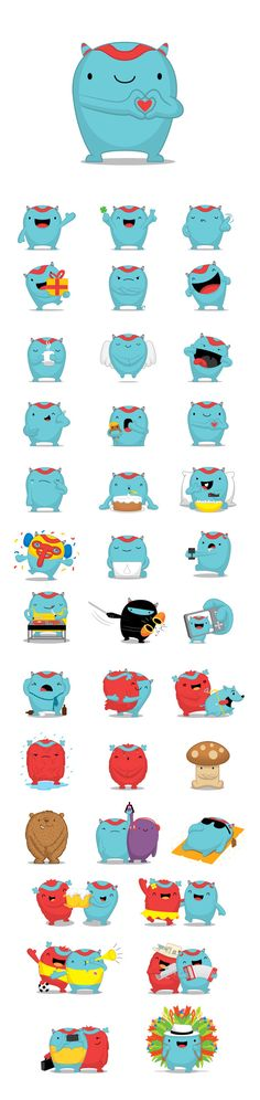 Stickers are illustrations or animations of characters that you can send to friends. Monster Illustration, Cute Illustration, Character Illustration, Simple Character, Game Character, Anime Chibi, Cute Characters, Cartoon Characters, Mascot Design