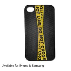 Police line on metal iphone case and samsung case by DCsub on Etsy, $13.89