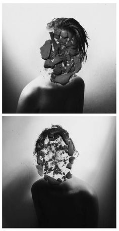 """Broken Stone, Manipulated Portraits 2012 Heitor Magno - or how I call it """"oreo face"""" Conceptual Photography, Creative Photography, White Photography, Portrait Photography, Mixed Media Photography, Photomontage, Photoshop, Face Off, Photo Manipulation"""