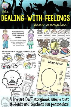 A Free Dealing-With-Feelings Line-Art Storybook Lesson That Students Can Customize Themselves Social Skills Activities, Health Activities, Language Activities, Elementary Teacher, Elementary Schools, Teaching Kids, Teaching Resources, Emotional Regulation, Thing 1
