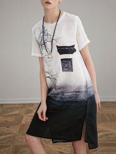 Miting Vintage Chinese Ink Printed O-Neck Short Sleeve Slit Dresses