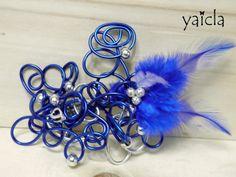 Pasador para cabello, hilo de aluminio de 2mm azul y plata,plumas.