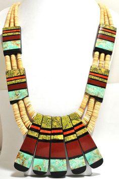 Santo Domingo Reversible Multi-Stone & Shell Heishi Necklace - Delbert & Torevia Crespin