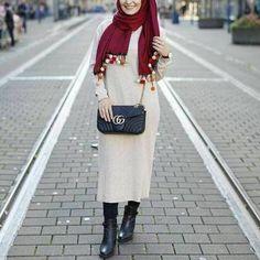 Long knitted dress-Neutral winter hijab outwears – Just Trendy Girls