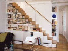 Diy staircase bookshelf stair ikea under stairs storage space and Home Design, Home Stairs Design, Interior Stairs, Interior Design Living Room, Stair Design, Design Ideas, Design Concepts, Ikea Under Stairs, Space Under Stairs