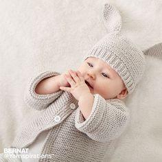 Bernat Knit Baby Jacket Set, Newborn in color Baby Knitting Patterns Free Newborn, Baby Cardigan Knitting Pattern Free, Kids Knitting Patterns, Baby Patterns, Easy Knit Baby Blanket, Knitted Baby Blankets, Knit Baby Sweaters, Knitted Baby Clothes, Crochet Baby