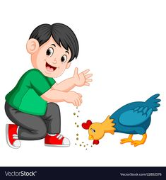 Boy give seed to chicken eat vector image on VectorStock Clown Crafts, Boy Crying, Clipart Boy, College Crafts, Islamic Cartoon, Baby Quiet Book, Kids Background, Kids Vector, First Birthday Photos