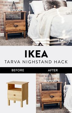 Here is a super simple & cheap DIY nightstand project using an IKEA Tarva Nightstand & Minwax Special Walnut Stain. Here is a super simple & cheap DIY nightstand project using an IKEA Tarva Nightstand & Minwax Special Walnut Stain. Easy Home Decor, Cheap Home Decor, Ikea Nightstand, Nightstand Ideas, Ikea Dresser Makeover, Ikea Furniture Makeover, Headboard Ideas, Nightstands, Diy Home Decor For Apartments