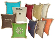 Monogrammed Jute Pillows in Popular Colors by MagnoliaStateMonogra