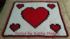 (4) Name: 'Crocheting : Hearts Throw C2C Graph & Word Chart