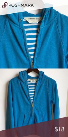 JCrew Slub French Terry large hoodie JCrew Slub French Terry large hoodie. Cute striped lining.  Very warm perfect for chilly spring days.   Smoke free home J. Crew Tops Sweatshirts & Hoodies
