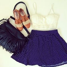 Cute summer outfit inspiration by Instaglam BFF @Kimberly featuring Charlotte Russe skater skirt, fringe bag, and shoes!