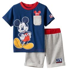 Disney's Mickey Mouse Baby Boy Graphic Tee & French Terry Shorts Set, Blue (Navy)
