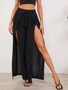 Jazz Pants, Split Legs, Summer Pants, Stripe Skirt, Pants Pattern, Wide Leg Pants, Fashion News, Thighs, Skirts