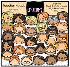 Teacher Heads Clip Art Bundle from Educlips on TeachersNotebook.com -  (41 pages)  - Teacher Heads Clip Art Bundle Image 30, Image Shows, Black N White Images, Black And White, Teacher Images, Classroom Decor, Digital Illustration, Cute Kids, Clip Art