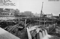 Building the Rundel Memorial Library, overtop of the Rochester Subway.