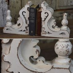 "Shabby Chic Cornice Bookends almost 12"" tall!  These could save my ugly table base!!"
