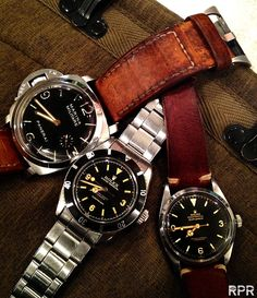 A lovely trio of vintage military watches... Panerai Marina Militare, Rolex Submariner and Rolex Explorer.